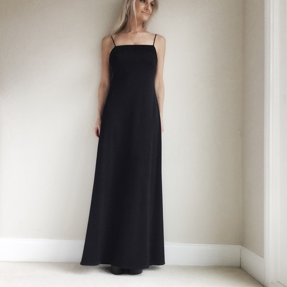 78a917ab347b08 Rhapsody Dresses | Vintage 1970s Black Back Tie Maxi Dress Size M ...